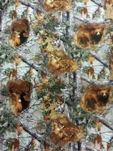 WILD FOREST - Bears Deers - Fabric 100% Cotton - Price Per Metre